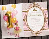first birthday pink and gold royal princess party invitation, pink and gold invitation, customized wording, quatrefoil, chevron, any age