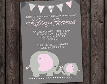 pink gray elephant baby shower invitation, baby elephants baby shower invitation, elephants baby shower invitations, pink, gray, chevron