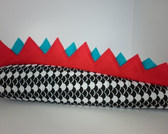 Dinosaur / Dragon tail black white turquoise red. Kids dressup Dino / Monster / Lizard / Crocodile tail. Party favor tail. Halloween tail.