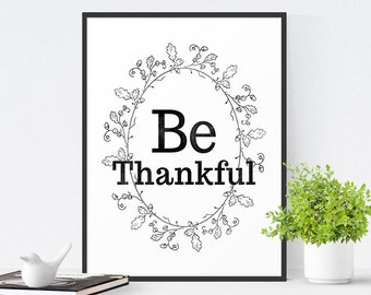 Inspirational Printable Art, Motivational Wall Art, Typography Print, Inspirational Printable Quote, Thanksgiving Decor - Choose your color