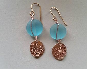 Rose bronze metal clay earrings