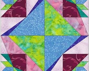 Alpine Flower Star Paper Template Quilting Block Pattern PDF