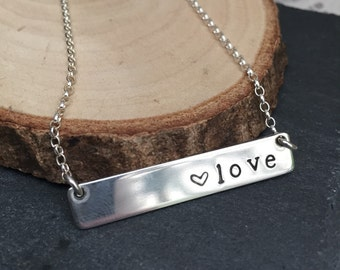 Love Heart Sterling Silver Bar Necklace, Hand Stamped Necklace