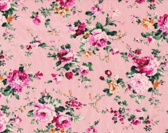 Pink Floral Fabric - Sold by the HALF metre