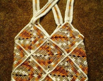 Crocheted Granny Square Tote Bag / Crocheted Granny Square Market Bag / Crocheted Granny Square Shopping Bag