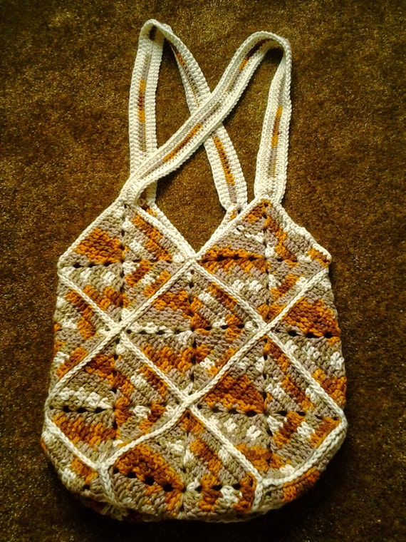 Granny Square Tote Bag : Crocheted Granny Square Tote Bag / Crocheted Granny Square Market Bag ...