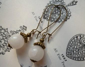 Jade Bead Earrings Kidney Wire Earrings Vintage Inspired Handmade Earrings White Jewelry Mothers Day Gift Simple Earrings Gifts Under 5