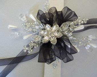 Wrist corsage - wristlet - prom corsage - bridesmaids wrist corsage - silver flower wrist corsage - silver and black wrist corsage- wedding