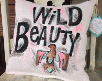 Wild Beauty 12'x12' White Burlap Pillow