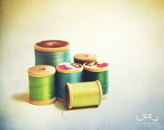Threads - 8x10 in. still life photo print, vintage, sewing room art, crafts, textured, spools, color or black and white