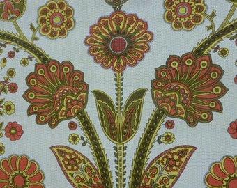 WALLPAPER original vintage 1970  Wallpaper, flowers orange, cashmere design, for one meter