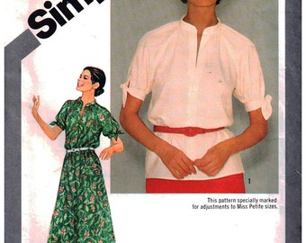 Simplicity Sewing Pattern 9872 Misses Pullover Dress, Top  Size:  12  Uncut