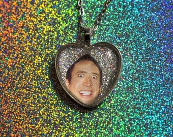 Nicolas Cage Glitter Heart Necklace / Nic Cage Necklace