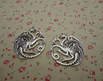 50pcs 35mmx33mm dragon antique silver Retro Pendant Charm For Jewelry Pendant