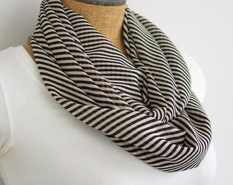 Lightweight Infinity Scarf - Black and White Striped Chiffon Infinity Scarf