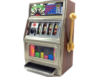 """Vintage Waco Slot Machine One Arm Bandit Style Coin Bank, Marked Casino King, 16"""" Tall"""