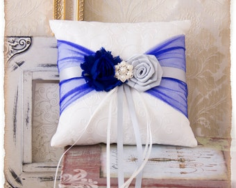 Royal Blue and Silver Ring Bearer Pillow, Wedding Ring Bearer Pillow, Ring Bearer Pillow, Wedding Accessories, Wedding Ring Pillow