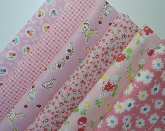 "Bundle of 1/8 30's Collection Pink Set. Made in Japan Approx. 9"" x 22"" x 6pcs"