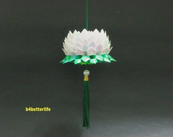 A Piece of Medium Size White Color Origami Hanging Lotus. (CY paper series).