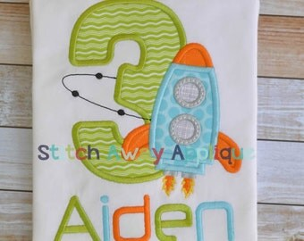 Spaceship Rocket Space Birthday Number Set Machine Applique Design