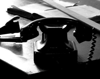 Prague Travel Photography / Vintage Telephone Print / Black and White Photo / Architecture Print / Home Decor / Wall Art / Fpoe