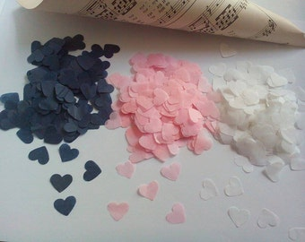Handmade White Pale Pink Navy Tissue Paper Heart Confetti Wedding Party
