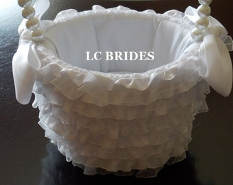 Ruffled Organza Lace Flower Girl Basket