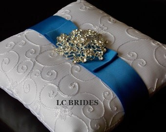 Wedding Ring Bearer Pillow Royal Blue