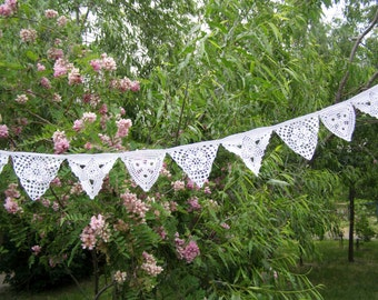 Bunting garland, Wedding decoration, Party decor, Wall Hanging Garland, Triangle Crochet Bunting