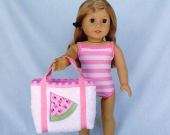 Pink Striped Bathing Suit and Watermelon Beach Bag for American Girl/18 Inch Doll