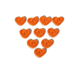 Crochet Hearts 10 pcs, 100% cotton quality yarn, orange, applique