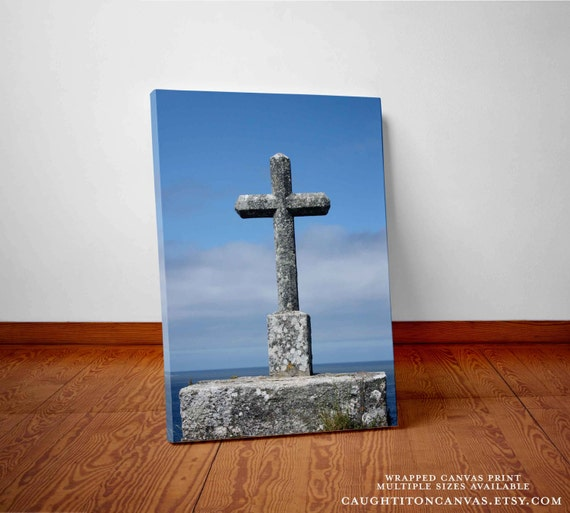 Religious Christmas Wall Decor : Items similar to large cross in europe canvas print