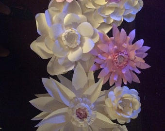Giant Paper Flowers - Set of 8 - White and Creme with Rose Gold and Pink Variations