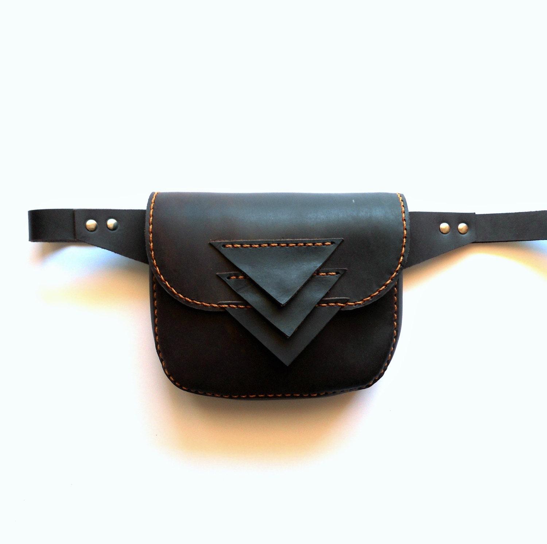 leather hip bag handmade hip purse leather pocket belt