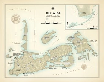 "Key West 11""x14"" [vintage inspired] artistic map print"