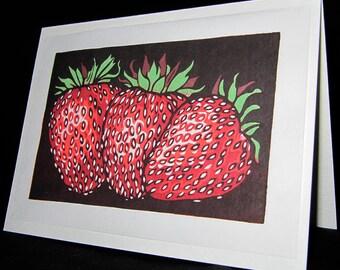 Hand pulled, woodblock printed greeting card, 'Strawberries'.