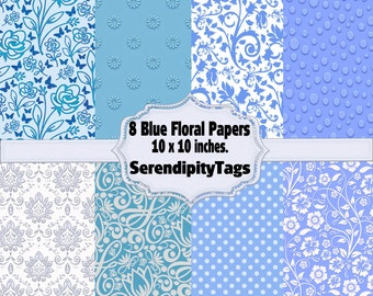 8 Blue Floral Papers
