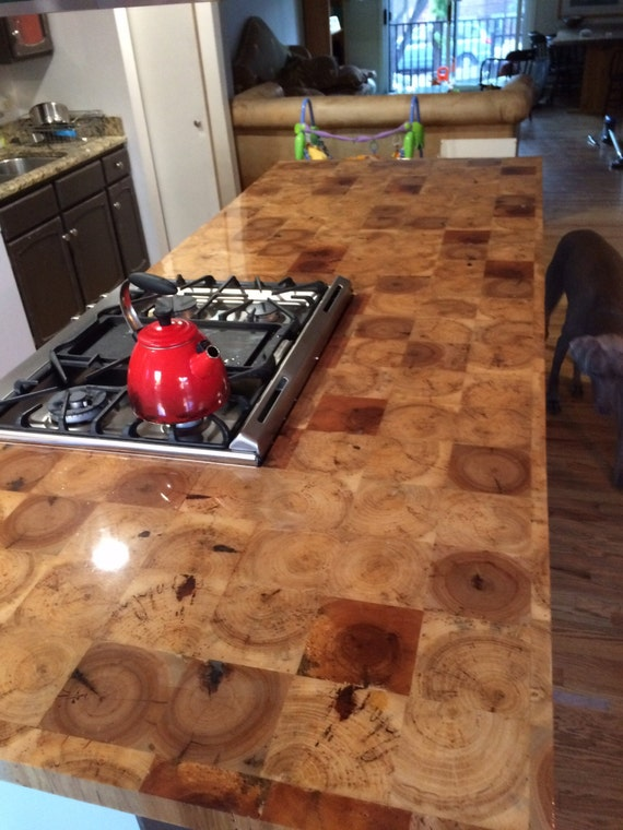Reclaimed Barn Beam End Grain Counter Top Table By