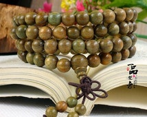 "Free S&H - Tibetan 108 8mm Green Sandalwood Buddhism Prayer Beads Yoga Meditation Mala Necklace, 32""  - two sets total 6 counting beads"