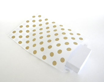 "25 Metallic Gold Polk Dot on White Paper Bags, Party Favor Bag, Gift Bag, 5 x 7.5"", Wedding Favor Bags, Candy Buffet Bag"