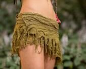 Mini Tarzan Skirt (Masala) - Crochet Boho Wrap Around Gypsy Skirt Goa Fairy Festival Jungle Belt Bohemian Skirt