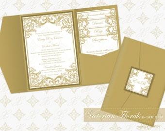 DIY Printable Wedding Pocket Invitation Template | Printable Pocket Invitation (classic) | Victorian Florals in Golden
