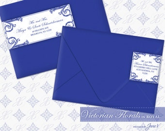 DIY Printable Wedding Wrap Around Address Label Template   Printable Address Label   Victorian Florals in Royal