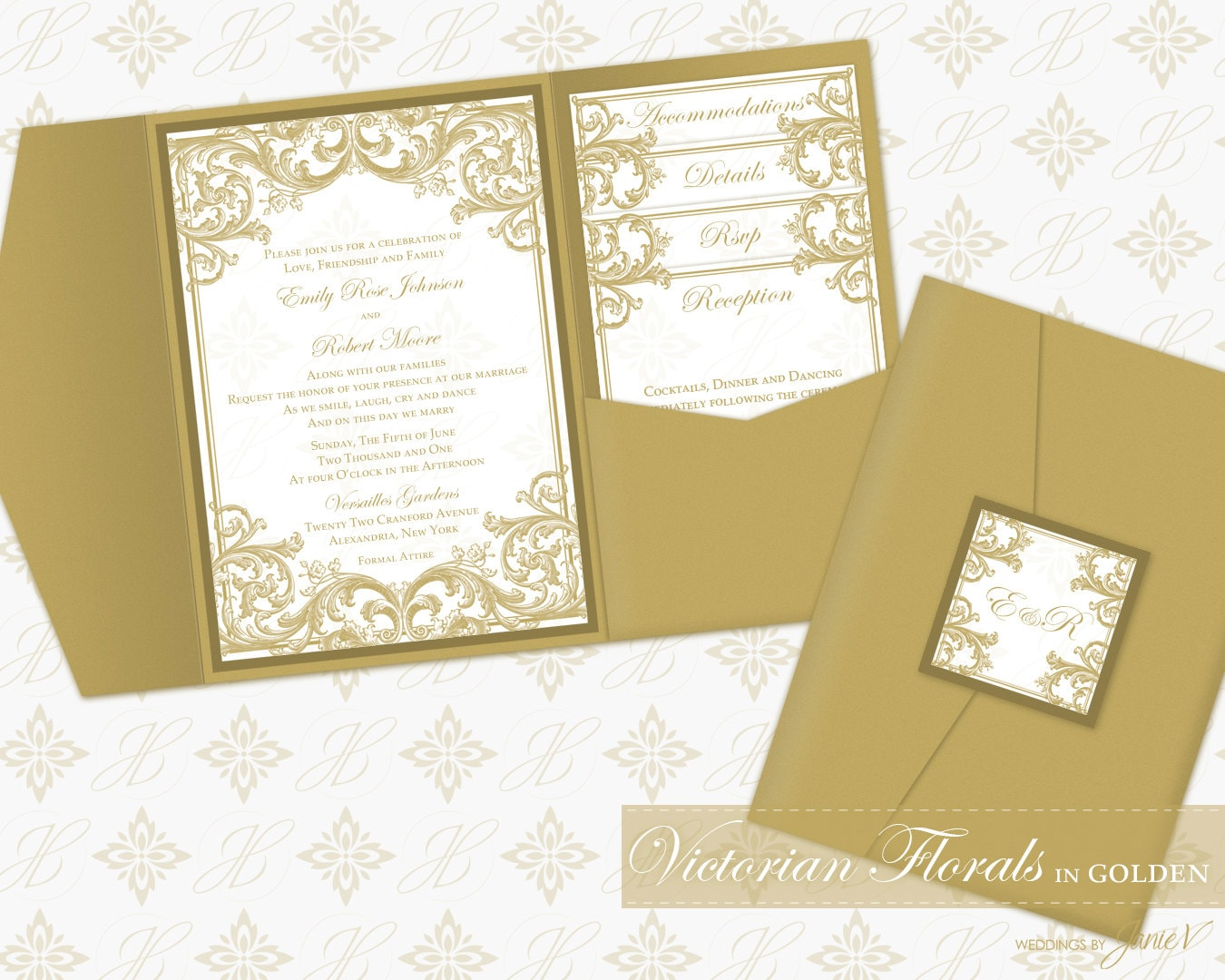 Photo Pocket Wedding Invitations: DIY Printable Wedding Pocket Invitation Template Printable