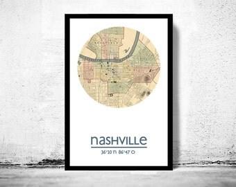 NASHVILLE - city poster - city map poster print