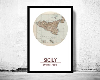 SICILY - city poster - city map poster print