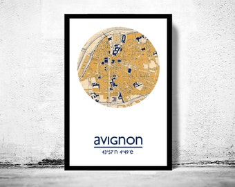 AVIGNON - city poster - city map poster print