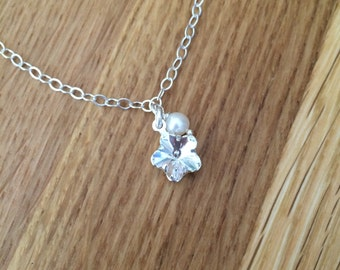 Swarovski Flowergirl necklace, Sterling Silver, Swarovski crystal flower and Freshwater pearl bridesmaid necklace, childs flower girl gift