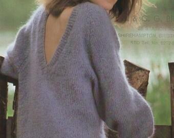 Vintage 1980's V back Sweater Pattern