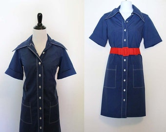 Vintage 1970s Blue Collared Shirt Dress